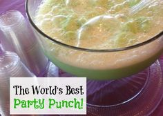 Quick and Easy Sherbet Punch Recipe - Eating on a Dime - - Try this quick and easy sherbet punch recipe. It is the best party punch recipe. Just 2 ingredients is all you need for the best sherbert punch. Lime Sherbert, Sherbert Punch, Blue Punch, Rainbow Sherbet, Party Drinks, Fun Drinks, Yummy Drinks, Yummy Food, Finger Foods