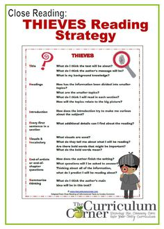 Close reading: THIEVES Reading Strategy anchor charts, graphic organizers & more!  ALL FREE!!! from http://www.thecurriculumcorner.com