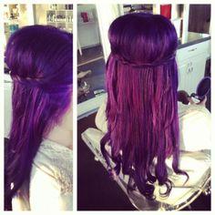 Updo purple hair