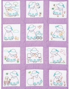 Nursery Quilt Blocks - Sunbonnet Girls - Grandma's Attic Sewing Emporium, Quilt Shop, Embroidery supplies, Quilting Supplies and Fabrics Baby Quilt Patterns, Quilt Baby, Baby Embroidery, Embroidery Patterns, Sue Sunbonnet, Country Quilts, Book Quilt, Quilt Top, Mini Quilts