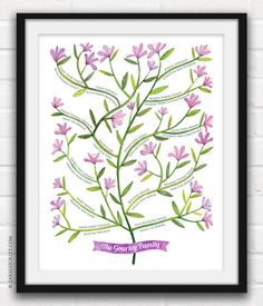 Personalized Botanical Family Tree, Watercolor, Hand painted, Generation Tree, Parent's Gift, Christmas Gift