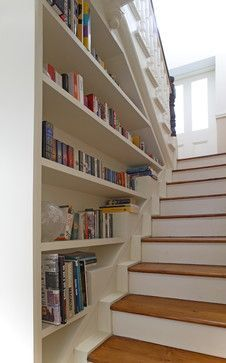 Lovely Book Shelf decorating ideas for Exquisite Staircase Traditional design ideas with books bookshelf staircase built-in bookshleves entry shelves split level stairs wood treads Bookcase Stairs, Bookcase Storage, Bookshelves, Shoe Storage, Book Stairs, Foyer Storage, Stair Shelves, Staircase Storage, Foyer Decorating