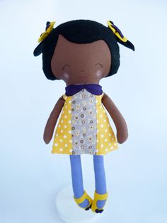 Handmade fabric doll Little Miss Silva OOAK  Ready to by Owlsandco, $40.00