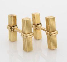 A pair of fourteen karat gold bar-shaped cufflinks, Tiffany & Co. signed Tiffany & Co., no. 80930