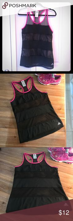 Climacool Adidas Pink/Mesh workout Shirt Perfect condition. Good for hot weather. Fits like M. adidas Tops