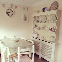 All finished! It turned out so much better than I expected and now I have even more space to put my 'tat'. One radiator cover, one old dresser top and a tin of paint #shabbychickitchen #addictedtoupcycling #pastelkitchen #stillneedtofaffwithit #stylistsrevamps