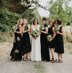 The best wedding dresses for young: black bridesmaid dresses for a Black Bridesmaids, Mismatched Bridesmaid Dresses, Wedding Bridesmaid Dresses, Best Wedding Dresses, Hoco Dresses, Party Dresses, Green Wedding Shoes, Wedding Colors, Wedding Black