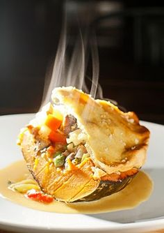 Vegetarian pot pie baked in a kabocha squash bowl. A bake and eat vessel!