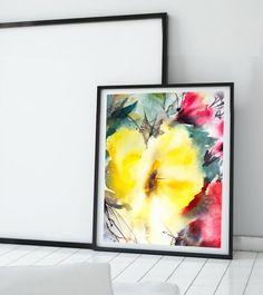 Imprimé+mural+aquarelle+jaune+Floral+peinture+par+CanotStopPrints