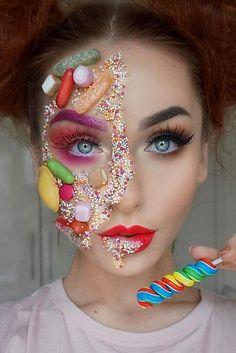 Halloween face makeup should not necessarily be scary. Actually, it can be fanta. Halloween face m Chic Halloween, Halloween Looks, Halloween Costumes, Halloween Face Makeup, Makeup Art, Makeup Tips, Makeup Ideas, Sfx Makeup, Candy Makeup