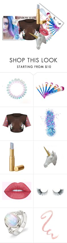 """Rainbow Unicorns"" by t14s ❤ liked on Polyvore featuring In Your Dreams, Bobby Berk Home, Unicorn Lashes, outfit, rainbow and unicorn"
