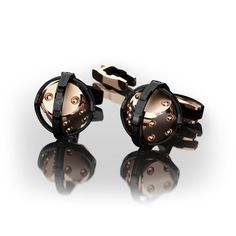 Encelade 1789 Swiss Luxury Cufflinks Dice Cufflinks + Clip // Black PVD + Rose Gold