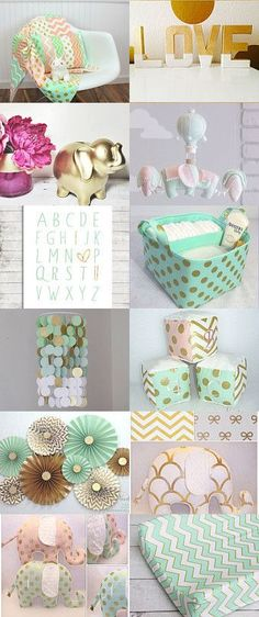 Nursery | Mint, Pink, Gold, and Elephants