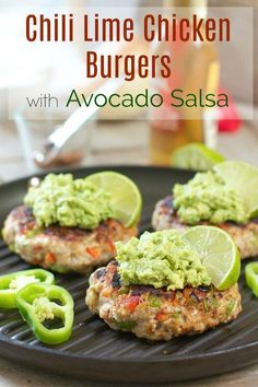 Fresh Chili Lime Chicken Burgers with Avocado Salsa!
