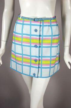 SOLD. Late 1960s mod mini skirt white pastel plaid 1970 from Viva Vintage Clothing
