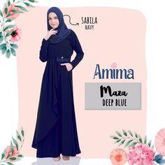 Gamis Atthiyyah Adiba Dress Dusty Blue Baju Gamis Wanita