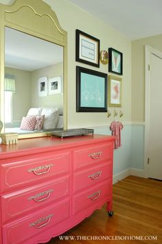 Coral and Gold Dresser makeover