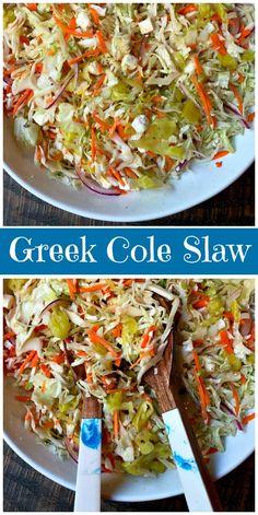 Greek Style Cole Slaw recipe from RecipeGirl.com #greek #cole #slaw #coleslaw #recipe #RecipeGirl via @recipegirl