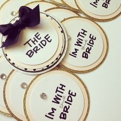 Circular bachelorette party name tags; incredibly classy with a black and polka dot color scheme, a pop of blush pink & an accent of gold. Perfect!