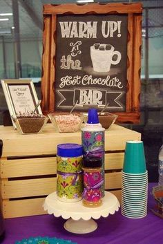 Hot cocoa bar at a Frozen birthday party! See more party planning ideas at CatchMyParty.com!