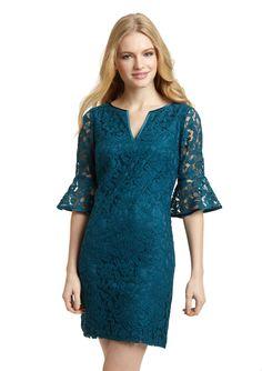 Adrianna Papell Petite V-Neck Lace Shift Dress