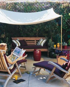 Create A Slice of Shade by marthastewart:  A simple canopy which goes up in minutes can transform an empty space into a welcoming 'place'. #DIY #Outdoor_Living #marthastewart #Canopy