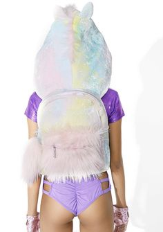 Sugarbaby Part Time Unicorn Hooded Backpack but bein' this cute and mystical is truly a full-time gig! This adorable backpack features a plush, suuuper soft swirly pastel construction, bb pink faux fur front pouch pocket, top zip closure with fluffy pull tab, adjustable shoulder straps, and a slouchy attached hood wit lil ears, pinky mane, and unicorn horn~