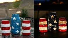 Show those stars and stripes! DIY Patriotic Mason jars for Independence Day Get ready to bust out the stars and stripes with these easy DIY Mason jar lanterns. Mason Jar Crafts, Mason Jar Diy, Mason Jar Lanterns, Jar Candles, Independance Day, July Crafts, Holiday Crafts, Kids Crafts, 4th Of July Decorations
