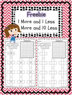 1 more 1 less 10 more 10 less FREEBIE!
