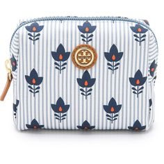Tory Burch Printed Brigitte Mini Cosmetic Case (3,745 INR) ❤ liked on Polyvore featuring beauty products, beauty accessories, bags & cases, bags, accessories, beauty, cosmetic bag, make up purse, make up bag and floral makeup bag
