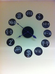 Awesome clock to teach students maths concepts Classroom clock. Black poster board white paint pen and HL clock kit. {pic only} The post Awesome clock to teach students maths concepts appeared first on School Diy. Classroom Clock, Math Classroom Decorations, Middle School Classroom, Maths Classroom Displays, Year 6 Classroom, Year 6 Maths, Math Clock, Classroom Ideas, Math Poster