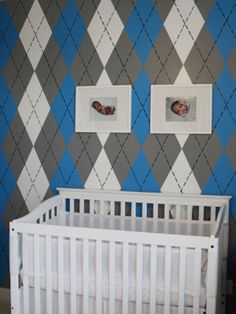 Not quite right for baby Xander's room, but imaging the time it took to create an argyle wall!!!