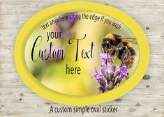 Custom Oval Bumble Bee Sticker, Honey Bee Sticker, CustomText Sticker, Food Label Sticker, Honey Jar Sticker, Cosmetic  Product Label, by SBsStickers on Etsy