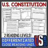 US Constitution Reading Passage - Close Reading Close Reading Activities, Reading Task Cards, Reading Comprehension Activities, Reading Passages, Reading Strategies, Sixth Grade Reading, Constitution Day, Look Here, Reading Levels