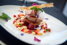 Sweet temptation from our pastry chefs: Brown sugar tuile on Cointreau-marinated strawberries, dark chocolate mousse with crunch and honey, dipped in fruit and white balsamic sauce. Dark Chocolate Mousse, Pastry Chef, Restaurant Bar, Chefs, Strawberries, Brown Sugar, Waffles, Honey, Menu