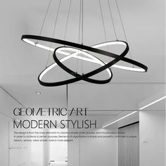 Pendant Light Modern Design/ LED Three Rings/ for office,Showroom,Living Room - Lighting pop Modern Light Fixtures, Modern Pendant Light, Modern Chandelier, Modern Lighting, Office Lighting, Cheap Pendant Lights, Pendant Lighting, Room Lights, Ceiling Lights