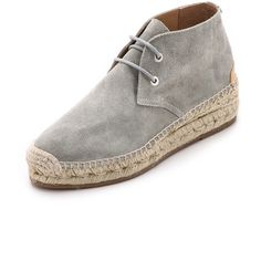 Rag & Bone Geneva Suede Espadrille Booties ($120) ❤ liked on Polyvore featuring shoes, boots, ankle booties, light grey, wedge boots, suede booties, platform booties, wedge espadrilles and lace up booties