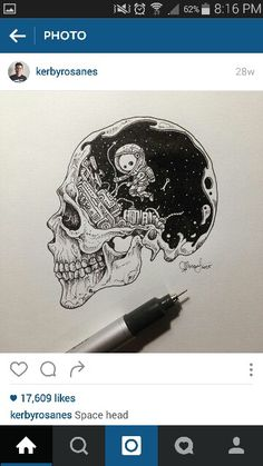 """Space Head"" drawing by Kerby Rosanes"