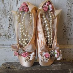 Vintage ballet pointe shoes faded blush pink shabby cottage chic embellished…