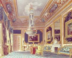 The Blue Velvet Room, Carlton House from Pynes Royal Residences, 1818 by William Henry Pyne - Reproduction Oil Painting Palace Interior, Luxury Homes Interior, Luxury Home Decor, Palaces, Velvet Room, Blue Velvet, Royal Room, Carlton House, Dream Mansion