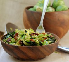 Brussels Sprouts, Kale and Bacon Salad (we eat this stuff)