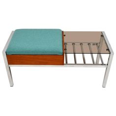 Retro Teak and Chrome Side Table/Bench Vintage, 1960s