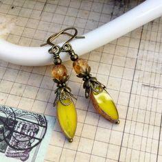 Yellow Earrings Golden Earrings Victorian by SmockandStone on Etsy