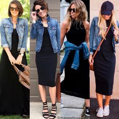 A jaqueta jeans é uma peça super verão! Ela deixa o visual descontraído e es… The denim jacket is a super summer garment! It leaves the look relaxed and stylish, so wearing it with that basic black dress that may seem more serious is Mode Outfits, Chic Outfits, Spring Outfits, Fashion Outfits, Womens Fashion, Fashion Top, Spring Fashion, Jean Jacket Outfits, Black Dress Outfits