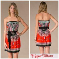 "Vintage ""Mayan"" Boho Tribal Border Print 70's Strapless Mini Dress Flying Tomato   eBay"
