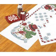 Herrschners®  Vintage Snowman Table Runner & 4 Napkins Stamped Cross-Stitch Was: $25.00                     Now: $12.49