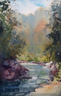 River in Tuscany by Sarah Yeoman Watercolor ~ 21 x 14