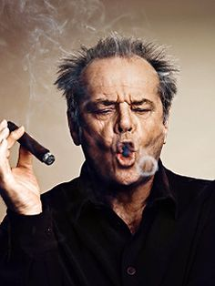 I wish I knew who shot this pretty amazing portrait of Jack Nicholson with cigar.