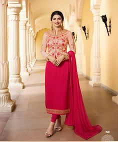 Looking to buy salwar kameez? ✓ Shop the latest dresses from India at Lashkaraa & get a wide range of salwar kameez from party wear to casual salwar suits! Indian Fashion Dresses, Indian Outfits, Indian Suits Online, Latest Salwar Kameez Designs, Pink Floral Maxi Dress, Stylish Dresses For Girls, Satin Jackets, Jacket Style, Pink Jacket