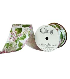 """Offray 2.25""""x9' Wild Orchid Wired Edge Floral Satin Wired Edge Ribbon"""